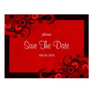 Reserva gótica rojo oscuro floral las invitaciones