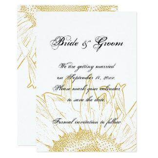 Reserva gráfica del boda del girasol la fecha invitación 12,7 x 17,8 cm