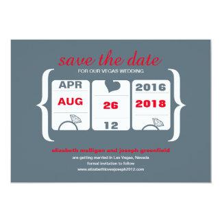 Reserva gris roja de la máquina tragaperras la invitación 12,7 x 17,8 cm