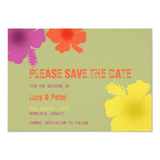 Reserva hawaiana colorida del boda del hibisco la invitación 12,7 x 17,8 cm