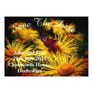 Reserva hermosa de la mariposa las fechas invitación 12,7 x 17,8 cm