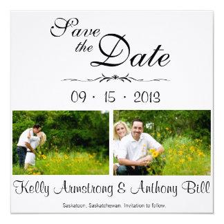 Reserva hermosa la fecha invitación 13,3 cm x 13,3cm