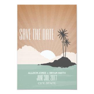 Reserva inspirada retra del boda de playa de la invitación 8,9 x 12,7 cm