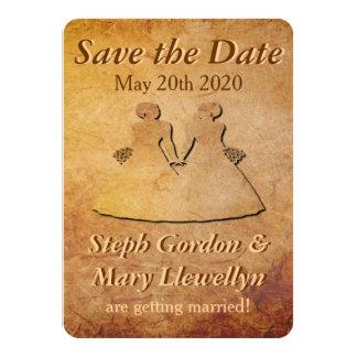 Reserva lesbiana de papel del boda del vintage la invitación 11,4 x 15,8 cm