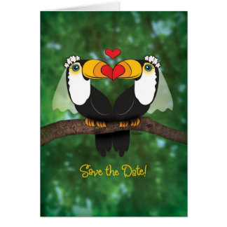 Reserva lesbiana del boda de Toucan la tarjeta de