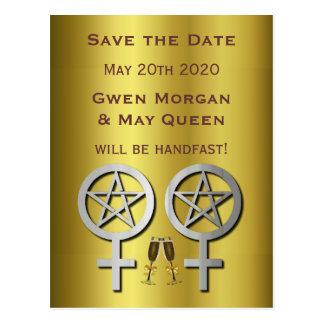 Reserva lesbiana del boda de Wiccan del oro la Postal