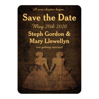 Reserva lesbiana del boda del amor legendario la invitación 11,4 x 15,8 cm