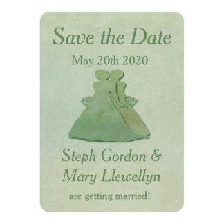 Reserva lesbiana del boda la tarjeta de fecha - invitación 11,4 x 15,8 cm