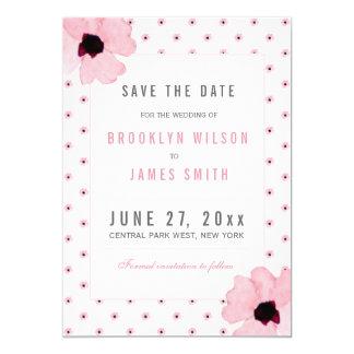 Reserva linda del boda de las flores del rosa las invitación 12,7 x 17,8 cm