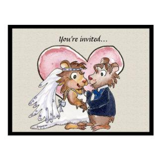 Reserva linda del boda del corazón rosado las postal