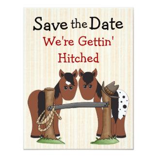 Reserva linda del caballo el aviso del boda de la invitación 10,8 x 13,9 cm