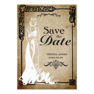Reserva medieval la novia de la fecha invitación 8,9 x 12,7 cm
