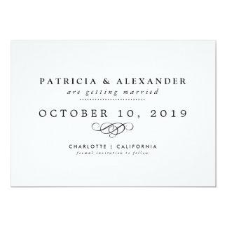 Reserva minimalista del boda la fecha elegante invitación 12,7 x 17,8 cm