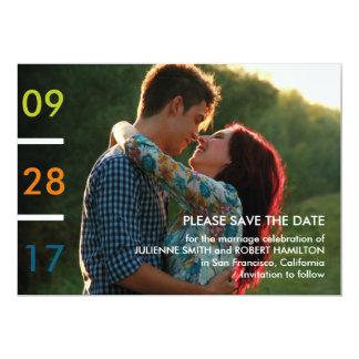 Reserva minimalista moderna de la foto la fecha invitación 12,7 x 17,8 cm