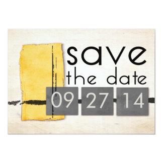 Reserva minimalista moderna del amarillo la foto invitación 12,7 x 17,8 cm