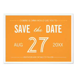 Reserva moderna anaranjada del Minimalist las Invitación 12,7 X 17,8 Cm