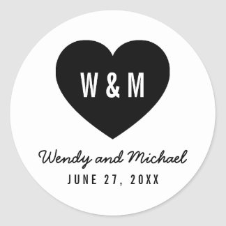 Reserva moderna del boda del corazón del monograma pegatina redonda