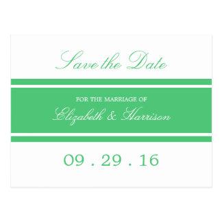 Reserva moderna del boda del verde esmeralda la postal