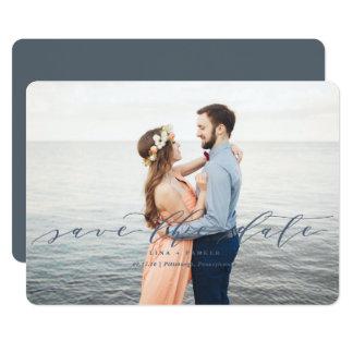 Reserva moderna del boda las fechas invitación 12,7 x 17,8 cm