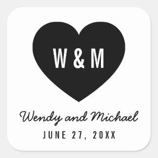 Reserva moderna del corazón del monograma el boda pegatina cuadrada