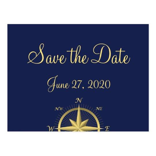 Reserva náutica azul del boda las postales de la