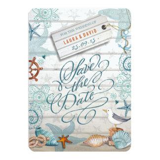 Reserva náutica del boda de playa el | la fecha invitación 12,7 x 17,8 cm