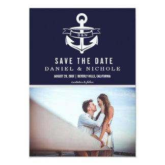 Reserva náutica del tema los bodas de la fecha el invitación 12,7 x 17,8 cm