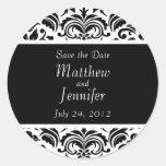 Reserva negra de la invitación del boda el etiqueta redonda