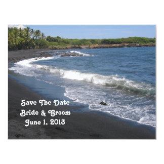 Reserva negra de la playa de la arena la tarjeta invitación 10,8 x 13,9 cm