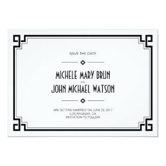 Reserva negra del blanco del art déco del marco la invitación 12,7 x 17,8 cm