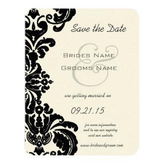 Reserva negra del boda del damasco del vintage la invitación 10,8 x 13,9 cm