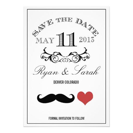 Reserva negra del DÍA de boda del bigote 11 la fec Anuncios Personalizados