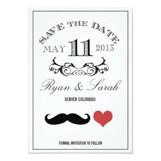 Reserva negra del DÍA de boda del bigote 11 la Invitación 12,7 X 17,8 Cm