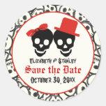 Reserva negra roja del boda de Halloween de los cr Etiquetas