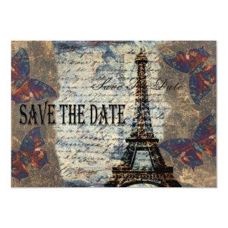 Reserva parisiense del vintage la fecha invitación 12,7 x 17,8 cm