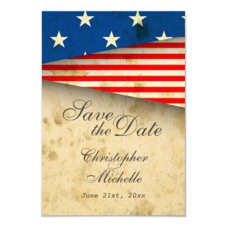 Reserva patriótica del boda del vintage de la invitación 8,9 x 12,7 cm