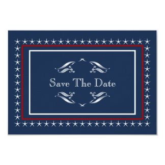 Reserva patriótica militar del boda las fechas invitación 8,9 x 12,7 cm