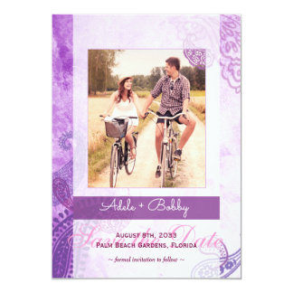 Reserva púrpura de la foto del boda de Paisley la Invitación 12,7 X 17,8 Cm