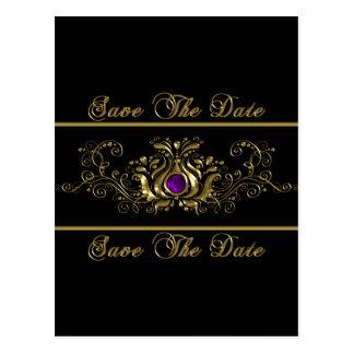 Reserva púrpura de la joya de los remolinos adorna tarjeta postal