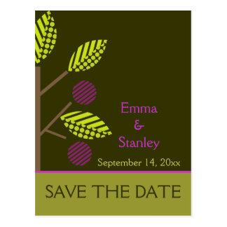 Reserva púrpura del boda de la caída del manzano postal