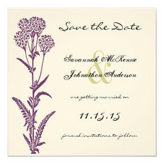 Reserva púrpura del boda de la rama de la flor invitación 13,3 cm x 13,3cm