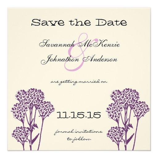 Reserva púrpura del boda de la rama de la flor sal anuncios personalizados