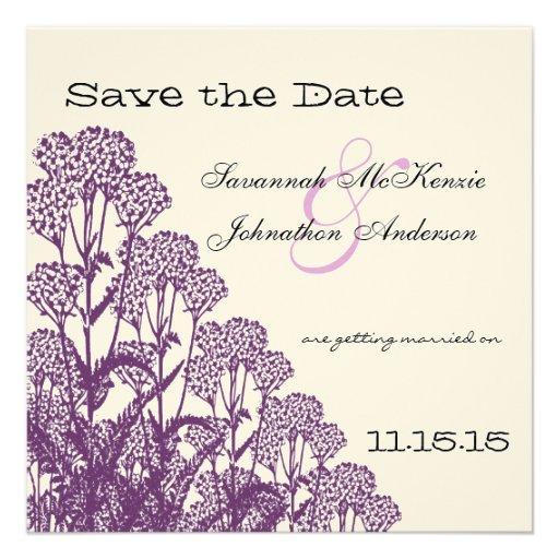Reserva púrpura del boda de la rama de la flor sal comunicado personal