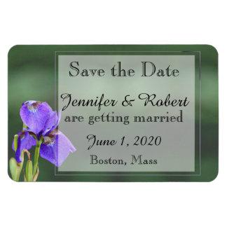 Reserva púrpura del boda del iris la fecha imán de vinilo