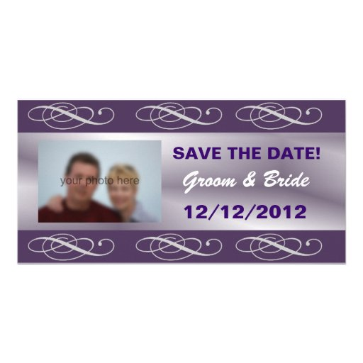 Reserva púrpura elegante Editable del boda la fech Tarjetas Fotograficas Personalizadas