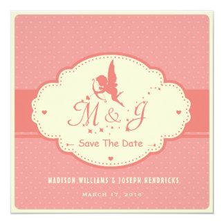 Reserva retra la tarjeta de fecha con la silueta invitación 13,3 cm x 13,3cm