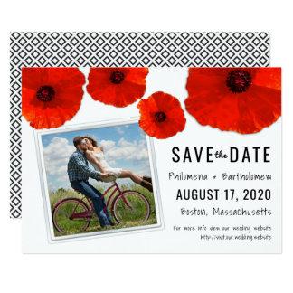 Reserva roja de la foto del boda de la amapola la invitación 12,7 x 17,8 cm