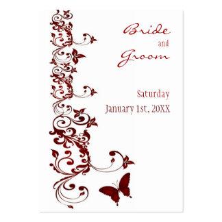 Reserva roja de la mariposa la fecha para los tarjetas de visita grandes