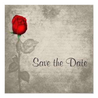 Reserva roja del capullo de rosa del color de invitación 13,3 cm x 13,3cm