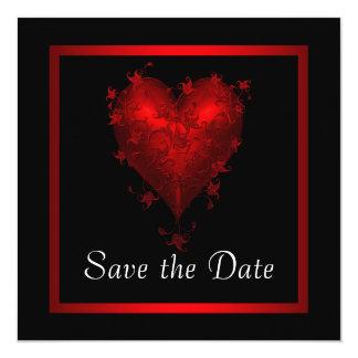 Reserva roja negra del corazón el boda de la fecha invitación 13,3 cm x 13,3cm